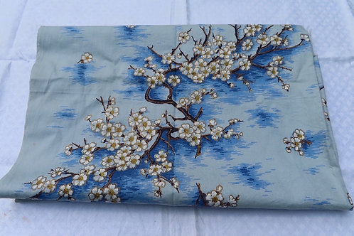 """Vintage Mid Century Drapery Fabric Blue White Cherry Blossom Branches 70"""" L"""