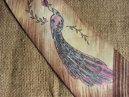 Vintage 50s Tie Airbrushed Peacock Tie Brown Beige Silk