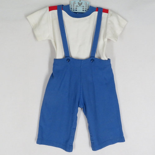 Vintage two piece baby boy outfit- blue pants and white tee
