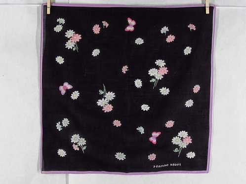 Hanae Mori Cotton Handkerchief Black Floral Butterfly Hankie