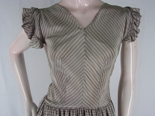 Vintage 40s full length striped prom dress