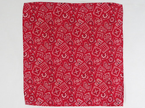 Red cotton bandana with print of bandanas