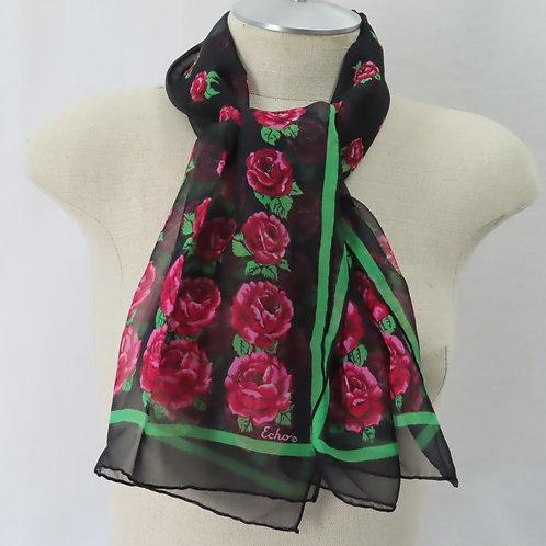 Echo Black Silk Crepe Rose Print Oblong Green Stripe Border