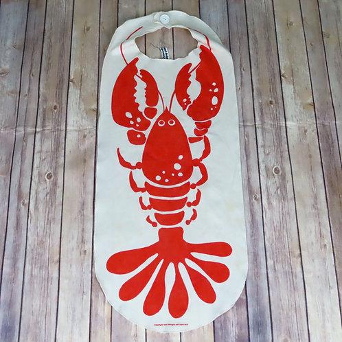 Vintage white apron/bib with bright orange lobster image
