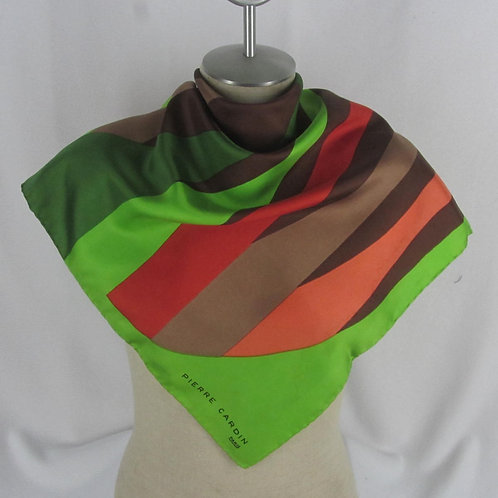 Pierre Cardin Scarf Green Silk Abstract Stripes Paris