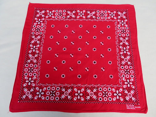 Red vintage bandana with white and black flowers and geometric print