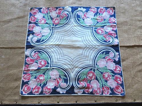 Vintage bandana scarf with tulip and spiderweb print