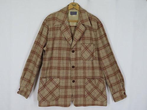Vintage 50s Pendleton 49er Jacket L Brown Plaid Wool Leather Buttons