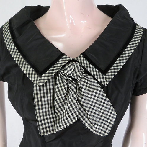 Black dress with large collar and black & white checked trim and bow