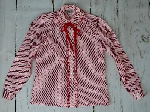 Vintage 70s Red White Polka Dot Blouse Shirt 12 Nordstrom