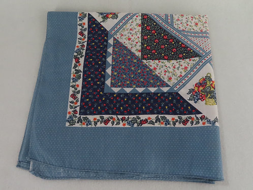 Vintage bandana with a blue floral and fruit patchwork print