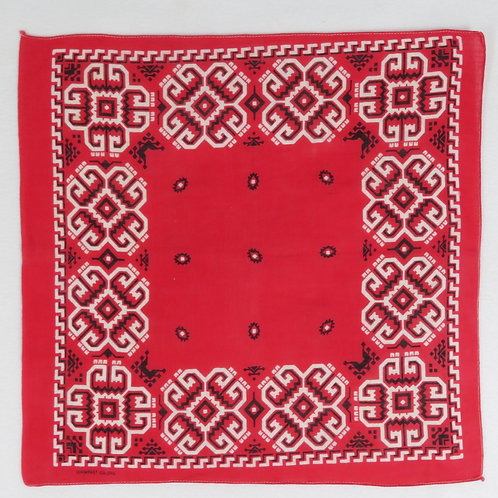 Square vintage bandana is red cotton with white and black geometric border design