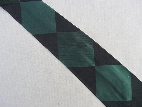 Vintage 50s Black Silk Necktie A. Sulka Green Diamonds 54 x 3