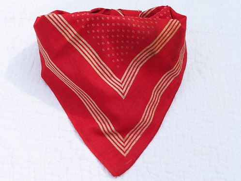 Antique turkey red cotton bandana handkerchief from the late Victorian era