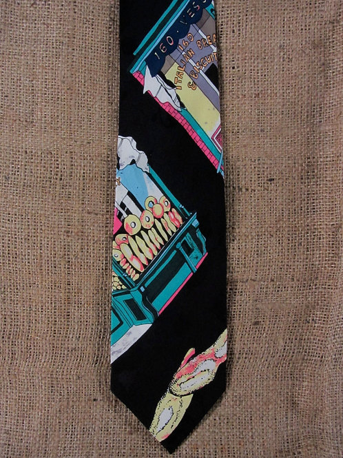 Nicole Miller Necktie Bakery Windows Bagels Baked Goods Black Silk