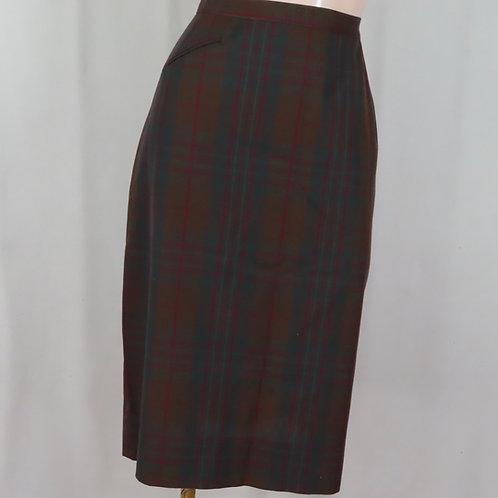 Vintage 60s brown plaid wiggle skirt