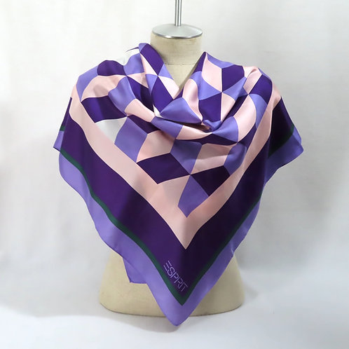 Vintage purple tumbling blocks print scarf by Esprit