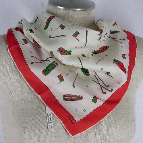 Vintage Echo Golf Theme Silk Scarf Pocket Square