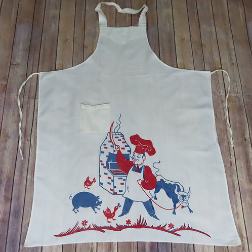 Vintage 50s BBQ apron with a chef, animals and a long knife