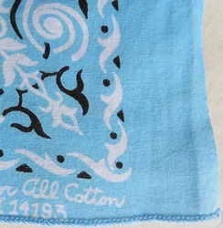 vintage blue bandana with overcast hem
