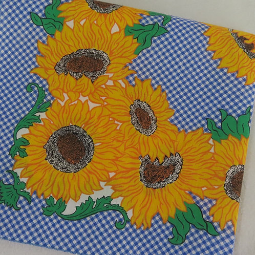 Blue and white checked bandana with bright yellow sunflowers