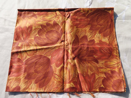 """Vintage 50s Cotton Sateen Fabric Abstract Leaf Print  1 1/2 Yd L x 36"""" W"""