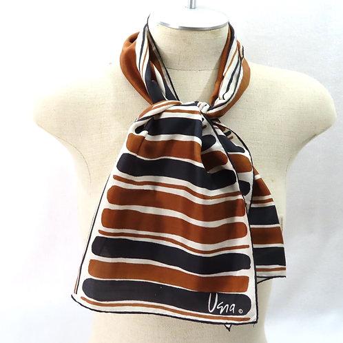 60s Vera Brown Black White Striped Silk Scarf
