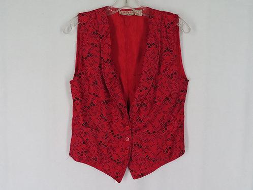 Vintage 80s Putamayo Vest S Red Floral Print Front Solid Back