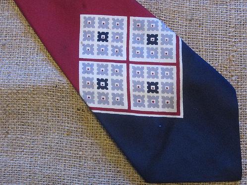50s Pilgrim Cravats Tie De Luxe Silk Red Blue Off White Necktie