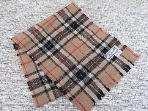 Vintage Camel Thompson Tartan Plaid Wool Scarf Scotland