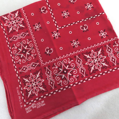 Folded red and white print bandana or scarf