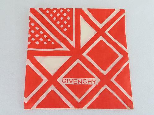 Vintage Givenchy Cotton Scarf Orange Off White Geometric Print