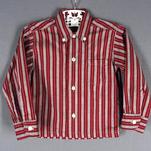 Vintage 50s boys red striped shirt with long sleeves