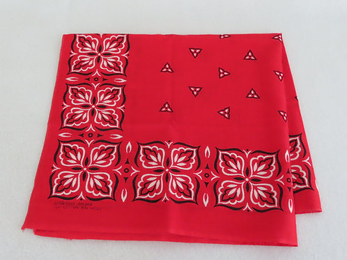 Vintage Red Leaf Print Bandana Handkerchief Washfast Colors #429