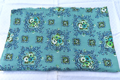 Vintage mid century early-american floral print blue fabric