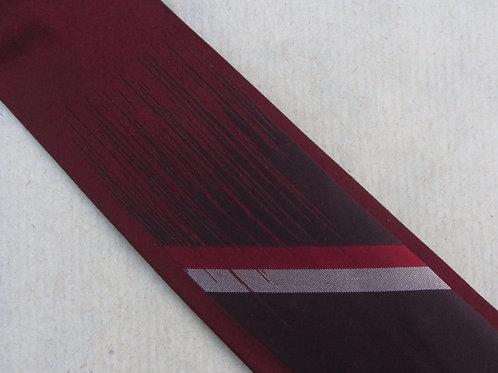 "1950s Red Silk Necktie Vintage Tie Diagonal Stripes A. Sulka & Co. 2 1/2"" Wide"