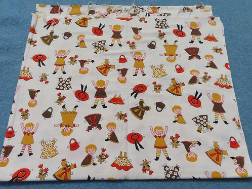 Vintage juvenile print fabric with paper doll kids figures