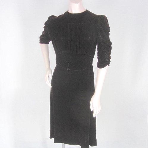 Dark brown velvet dress with shirred sleeves