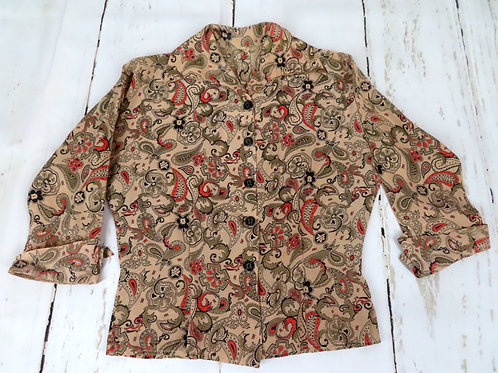 Vintage 50s women's blouse is tan with red and black paisley print