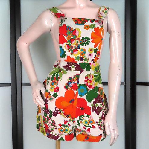 Bright floral tropical print romper or short overalls