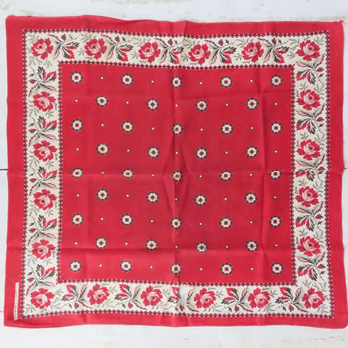 Antique turkey red bandana with white floral border