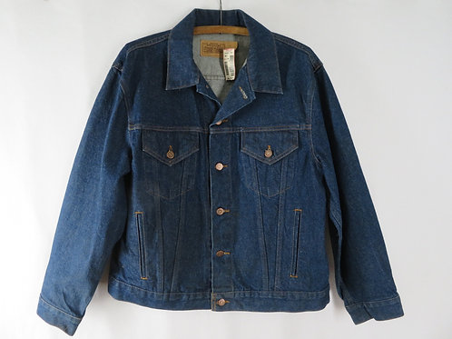 Vintage 90s Blue Denim Jean Jacket L NEW Roebuck Sears Trucker Biker