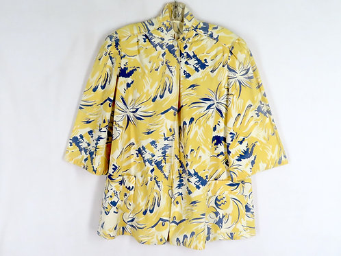 vintage 50s yellow and blue print jacket with 3/4 length sleeves