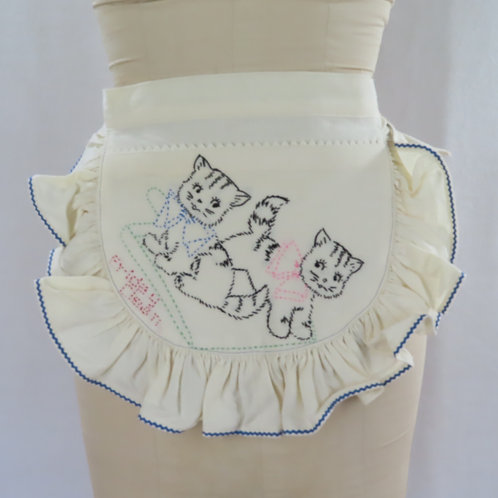 Sexy waist apron made from an upcycled feedsack dishtowel embroidered with kittens