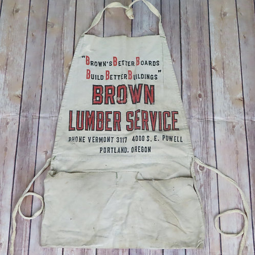Vintage early 60s advertising apron for Browns Lumber Services