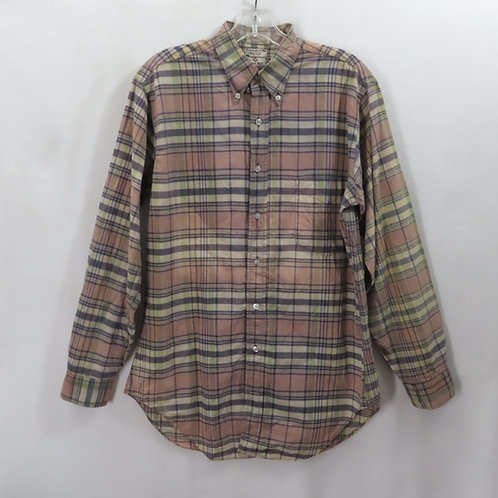 Long sleeved, plaid shirt in muted shades of brown
