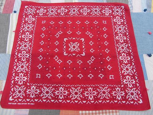 Red and white bandana handkerchief with star flower border