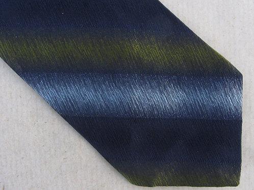 Green Black Striped Tie A. Sulka Necktie Diagonal Iridescent Stripe