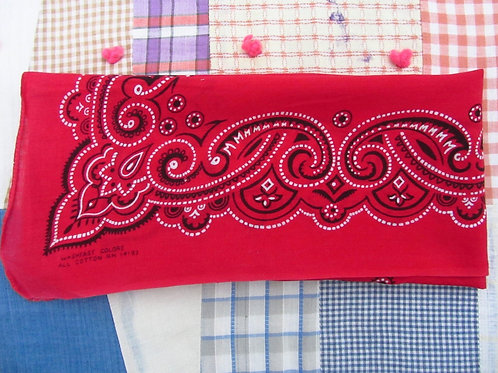 Vintage Red Bandana Handkerchief Black White Paisley Washfast Colors All Cotton