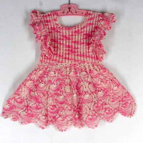 Vintage hand crochet pink baby pinafore dress